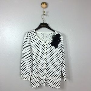 White House Black Market Polka Dot Cardigan, S